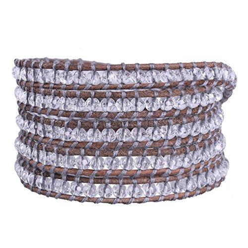 Womens Brown Importiert (KELITCH Würfel Farbe Klar Kristall Armband Freundschaftsarmbänder Wrap Perlen 5 Wrap Armband Freundschaftsarmbänder Mode Bohemian Stil)