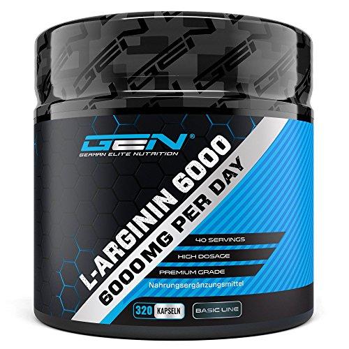 L-Arginin 6000-320 Kapseln - Hochdosiert mit 6000 mg pro Tagesportion - 100% reines L-Arginin Base - Aminosäure - Premium Qualität - German Elite Nutrition