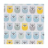 Tissu coton enduit mini hiboux - Bleu, gris, jaune & vert - Largeur 160 cm- Longueur au choix par 50cm