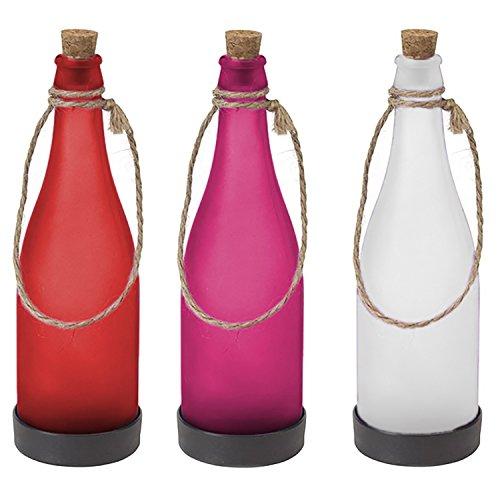 Mojawo 3tlg. Solar Flaschen Set LED Gartenleuchte Weiß/Rot/Lila Aussenleuchten Solarleuchte Außen Lampe Leuchte Dekoflasche