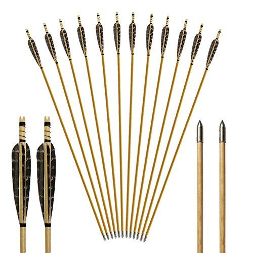 Toparchery Holzpfeile für Bogenschießen 12 Pfeile mit Bullet Pfeilspitzen und 5 Zoll Naturfedern Pfeile Holz in Handarbeit