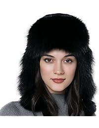 URSFUR Frauen Flaumige Echte Rex Kaninchen Fell Fuchspelz Fellmütze Trappermütze mit Ohrenklappe Fliegermütze