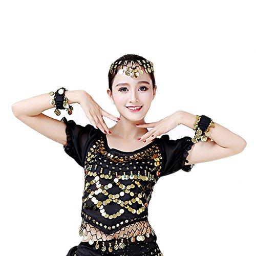 Bauchtanz Halter Top für Frauen Wingbind Chiffon Bauchtänzerin Kostüme für Mädchen Indien Dance Kostüm mit (Bauchtänzerin Halloween Kostüme Frauen)
