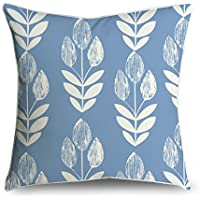 fabricmcc Mid-Century moderno foglia su azzurro con, accento decorativo Throw Pillow Cover cuscino 18 X 18