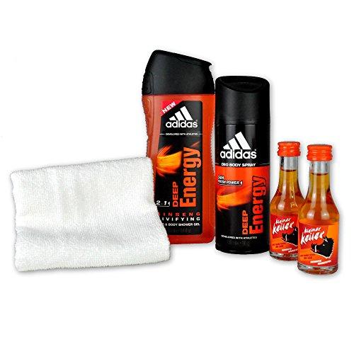 handverpacktes Männergeschenk-Set Energy Man mit Adidas Deep Energy Deospray und Duschgel plus Likör