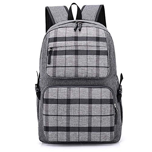 Rucksack lässig Student Plaid Bag große Kapazität Reisen im Freien für Unisex(Hellgrau) - Grau Plaid Flanell