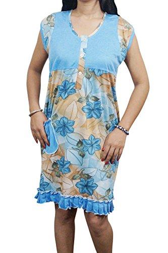 Indiatrendzs Women Night Dress Floral Hosiery Blue Sleepwear Patch Pocket Short Nighty 40
