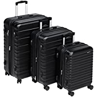 "AmazonBasics Hardside Trolley Luggage - 3 Piece Set (20"", 24"", 28""), Black"