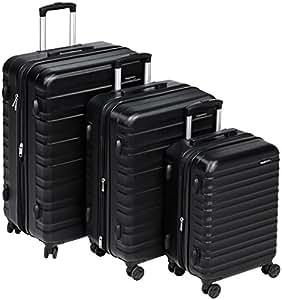 AmazonBasics - Set di trolley rigidi con rotelle girevoli, Set da 3 pezzi (51 cm, 61 cm, 71 cm), Nero