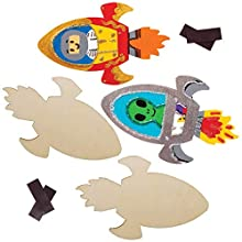 Baker Ross AW905 Rocket Wooden Magnets, Arts and Crafts for Kids (Pack of 10)