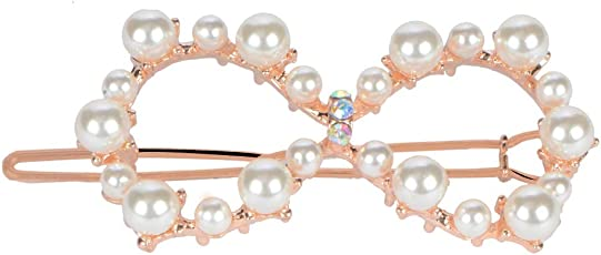 STRIPES Metal Infinite Alloy Pearl Number 8 Shape 1 PCS Hairpin Hair Clip for Women and Girls
