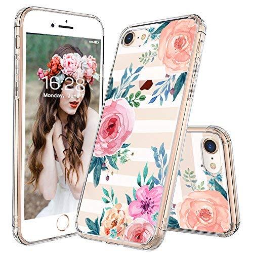 MOSNOVO iPhone 8 Hülle, iPhone 7 Hülle, Streifen Blumen Muster TPU Bumper mit Hart Plastik Hülle Durchsichtig Schutzhülle Transparent für iPhone 7 (2016) / iPhone 8 (2017) (Stripes Floral)