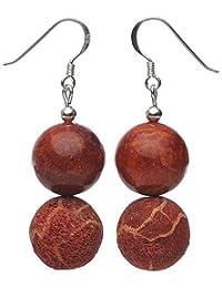 Ohrringe Ohrhänger aus Korallen Schaumkorallen glatt & mit Poren 925 Silber