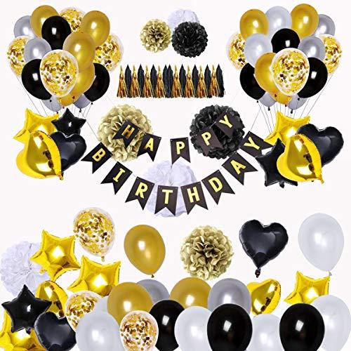 Skaine 98 Piezas de Decoraciones de Fiesta en Negro y Oro, Feliz Cumpleaños Banner Estrella Corazón Foil Globos 30 años 40 años 50 años 60 años 70años Cumpleaños Decoraciones Globos de Cumpleaños
