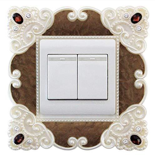 Yudanwin ☼ Un Cadeau Parfait Nouvelle décoration Sticker Mural Interrupteur Mural Couvercle décoratif Switch Sticker_White Edge Coffee