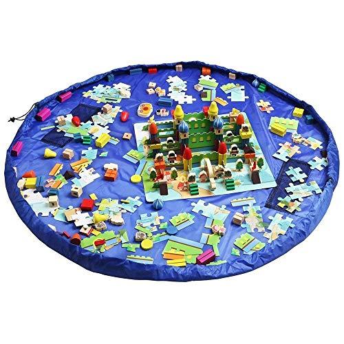 Funky Planet Toy Storage Bag per Lego, Organizer Borse, i Bambini Giocano Mat 152,4 cm (150 CM) – Portable Child Toy Organizer (Blue)
