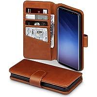 Samsung S9 Hülle, Terrapin [ECHT LEDER] Brieftasche Case Hülle mit Standfunktion Kartenfächer und Bargeld für Samsung Galaxy S9 Tasche - Cognac
