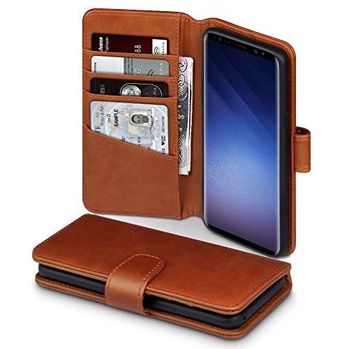 Coque Samsung S9, Terrapin Étui Housse en Cuir Véritable avec La Fonction Stand pour Samsung Galaxy S9 Case