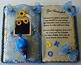 Schulanfang - Dekobuch (blau) mit Holz-Buchständer, Schmuckbücher für alle Anlässe,(Taufe,Geburtstag,Silber-,Perlen-,Rubin-,Goldene-,Diamantene-, Eiserne Hochzeiten, Erinnerungs- u. Trauerbuch usw.)