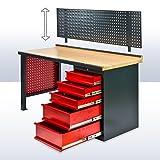 Werkbank mit Rückwand - 5 Schubladen 170 x 72 x 135 cm in Anthrazit/Rot