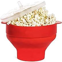 Microondas palomitas de maíz Popper de silicona con mangos, Popcorn Popper Bowl, rojo