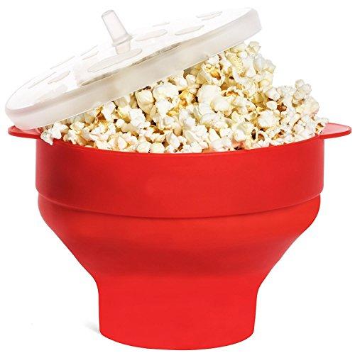 MUZIYU Mikrowellen Popcorn Popper, Silikon Popcorn Schüssel mit Deckel, faltbare Silikon Schüssel – Leicht zu handhaben
