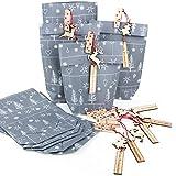 10 x Papiertüte GRAU SILBER WEISS Verpackung Tüte + 10 FROHE WEIHNACHTEN HIRSCH rot natur Weihnachtsanhänger Kundengeschenke weihnachtlich verpacken