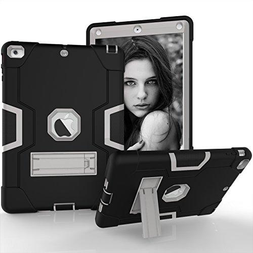 iPad Air Hülle, Dteck [Kippständer] Stoßfest [Corner / Bumper Schutz] [Grip] Rugged Hybrid Stoßdämpfend Schwerlast Schutzhülle für Apple iPad Air 1st Generation A1474/ A1475/ A1476, Schwarz & Grau