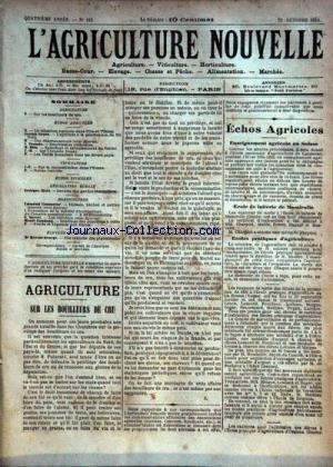 AGRICULTURE NOUVELLE (L') [No 183] du 20/10/1894 - AGRICULTURE PAR GENIN - TROUDE - BLIN - VITICULTURE - HORTICULTURE PAR COUTURIER - MOTTET - GAUDEAU - ELEVAGE PAR GEORGE