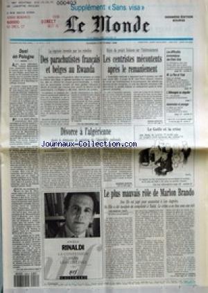 MONDE (LE) [No 14212] du 06/10/1990 - DUEL EN POLOGNE - DES PARACHUTISTES FRANCAIS ET BELGES AU RWANDA - LES CENTRISTES MECONTENTS APRES LE REMANIEMENT PAR PIERRE SERVENT - LES DIFFICULTES ECONOMIQUES DES ETATS-UNIS - M. LE PEN ET L'IRAK - L'ALLEMAGNE AU SINGULIER - AUTOROUTES ET PAYSAGE - DIVORCE A L'ALGERIENNE PAR GEORGES MARION - LE GOLFE ET LA CRISE - LE PLUS MAUVAIS ROLE DE MARLON BRANDO PAR BERTRAND LE GENDRE - LA CONFESSION DANS LES COLLINES PAR ANGELO RINALDI. par Collectif