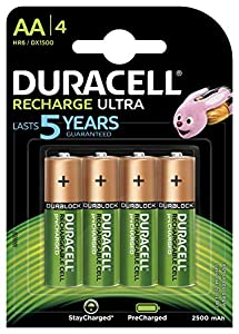 recargable: Duracell HR06-P - Pack de 4 pilas recargable con tecnología NiMH , color verde y...