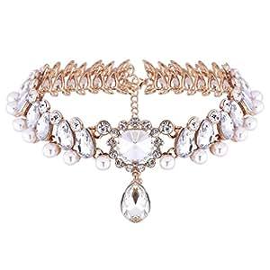 YAZIlIND Jewelry Schmuck Kristal Perlen Charmant Elegant Kette Halskette