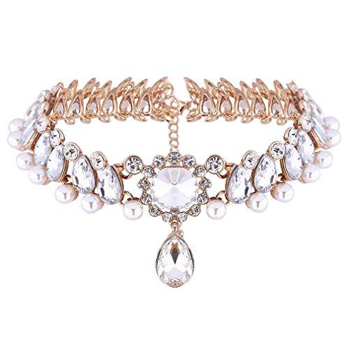 YAZILIND-Bride-Frauen-Jewerly-Inlay-Strass-Perlen-Kristall-Charme-berzog-justierbare-Kette-Halskette