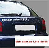 """KFZ-Aufkleber, Spruch: """"Bitte nicht am Lack lecken"""", Fahrzeugaufkleber, Auto, Größe ca. 300 mm x 20 mm, verschiedene Farben zur Auswahl (M090 Silber)"""