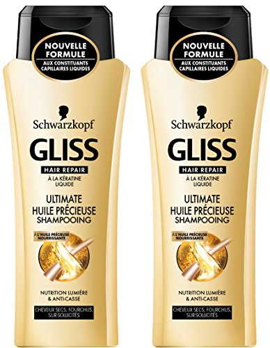 Schwarzkopf Gliss Shampooing Ultimate Huile Précieuse Flacon 250 ml Lot de 2