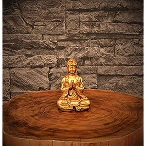 Kleine Buddha-Figur, Altgold 2er Set