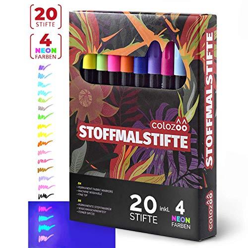 Colozoo Stoffmalstifte 20er-Set: 4 UV Neon und 16 Textilstifte waschmaschinenfest - Textilmarker für Textil, Polyerster, Beutel, T-Shirt, Papier und sonstige - Leuchtet Nur T-shirts