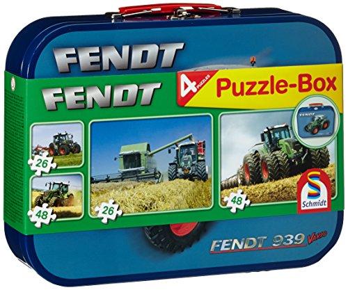 Schmidt Spiele 55589 - Fendt, Puzzle-Box 2 x 26, 2 x 48 Teile im Metallkoffer (Traktor-boxen)