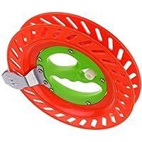 MagiDeal Carrete Devanadera Enrollador Mango Plegable Intercambiable Duradero Pesca - rojo verde
