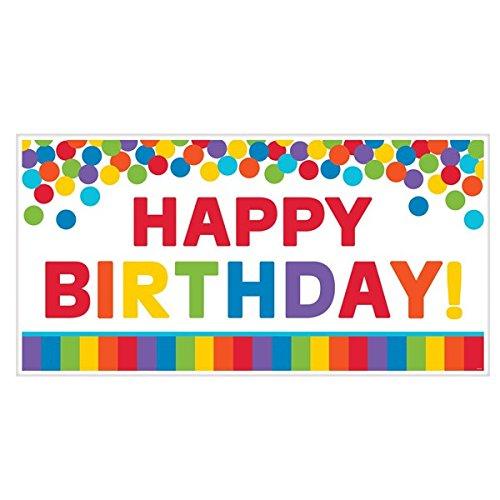 ges Party-Schild mit englischsprachiger Aufschrift Happy Birthday, Regenbogenfarben, 85cm ()
