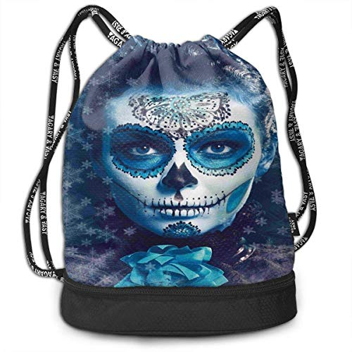 Cupsbags Santa Muerte Concept Winter School Drawstring Bag Backpack Bundle Backpack