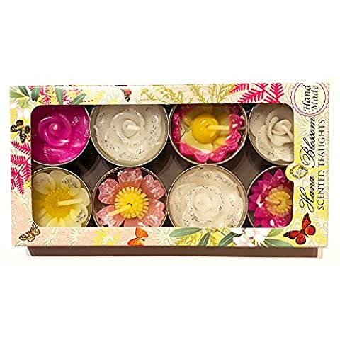 Hana Blossom Handmade Fairtrade Scented Glittered Flower Tealight Candle in Assorted Designs and Colours Gift Set, Set of 8
