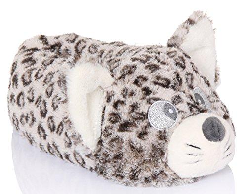 , Mädchen Neuheit Cutie Katze Hausschuhe mit Stoff Dot Sohle, Taupe, Größe EU 40-43 (Süßes Paar Onesies)
