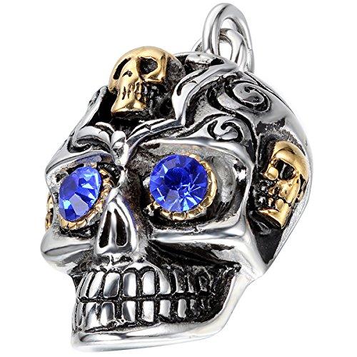 oidea Hombre Collar Con Colgante, Acero inoxidable herrschsüchtige pesado Calavera Cráneo Colgante con Cadena de 55cm collar, plata oro azul