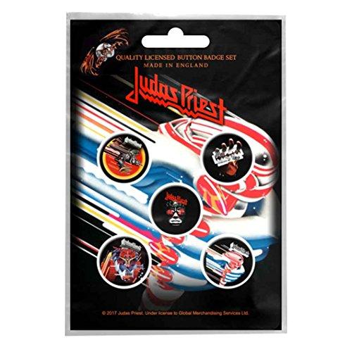 Judas Priest badge pack 5 x Pin Button Band logo British Steel Nue offiziell -