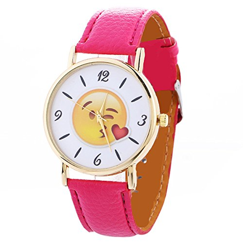 Watches Uhren Loveso 2017 Fashion Cute Emoji Leather Band Quartz Wrist Watch_Hot Pink (Gold Watchs Für Kinder)