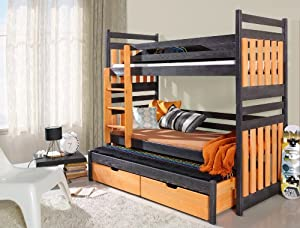Bunk Bed SAMBOR Modern Children Triple High Bed Drawers UK Single Standard Size Shorter Size Various colours