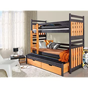 bunk bed sambor children triple bunk bed   uk standard  u0026 shorter size 24 colours hyder living alaska futon bunk bed plus mattress metal silver      rh   amazon co uk