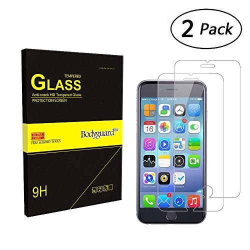 Bodyguard 2 Stück Panzerglas Schutzfolie für iPhone 6 PLUS / 6S PLUS, 9H Härte Displayschutz 99% Ultra-klar für iPhone 6 PLUS 6S PLUS 5,5'' 3D Touch Kompatibel, Oleophobe Beschichtung gegen Öl (Fleck Drücken)