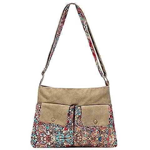 Win8Fong Women's Canvas Retro Bohemian Style Vintage Bosom Printed Chest Bag Shoulder Bag Waist Bag Travel Sports Bag Satchel Backpack (#8)